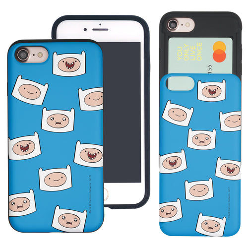 iPhone 8 Plus / iPhone 7 Plus Case Adventure Time Slim Slider Card Slot Dual Layer Holder Bumper Cover - Pattern Finn