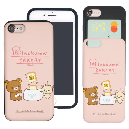iPhone SE 2020 / iPhone 8 / iPhone 7 Case (4.7inch) Rilakkuma Slim Slider Card Slot Dual Layer Holder Bumper Cover - Rilakkuma Toast