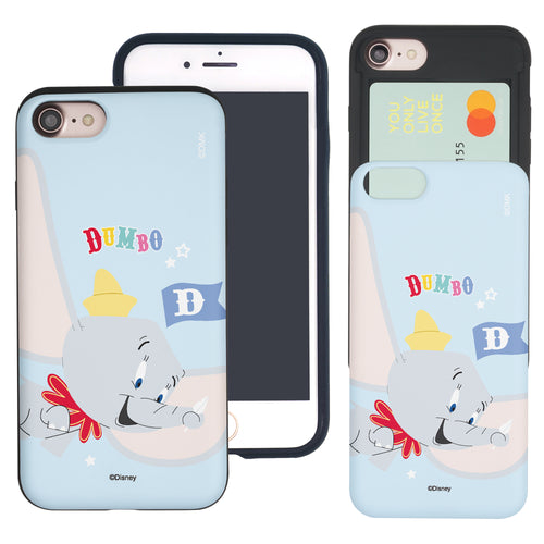 iPhone SE 2020 / iPhone 8 / iPhone 7 Case (4.7inch) Disney Dumbo Slim Slider Card Slot Dual Layer Holder Bumper Cover - Dumbo Fly