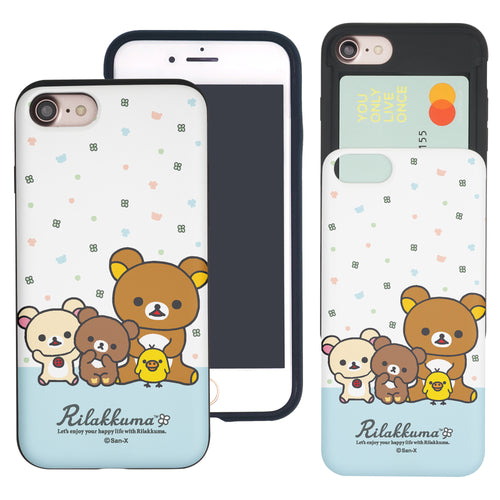 iPhone SE 2020 / iPhone 8 / iPhone 7 Case (4.7inch) Rilakkuma Slim Slider Card Slot Dual Layer Holder Bumper Cover - Rilakkuma Friends