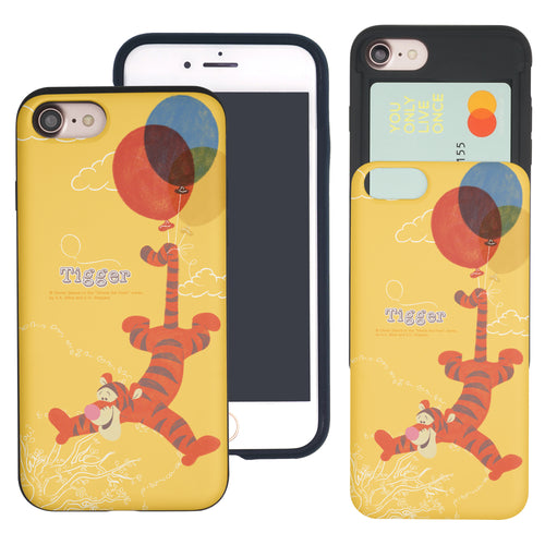 iPhone SE 2020 / iPhone 8 / iPhone 7 Case (4.7inch) Disney Pooh Slim Slider Card Slot Dual Layer Holder Bumper Cover - Balloon Tigger