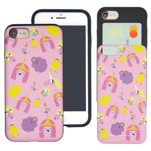 iPhone 8 Plus / iPhone 7 Plus Case Adventure Time Slim Slider Card Slot Dual Layer Holder Bumper Cover - Cuty Pattern Pink