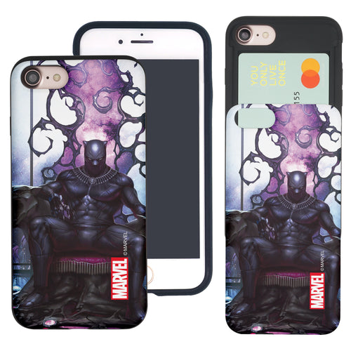iPhone 8 Plus / iPhone 7 Plus Case Marvel Avengers Slim Slider Card Slot Dual Layer Holder Bumper Cover - Black Panther Sit