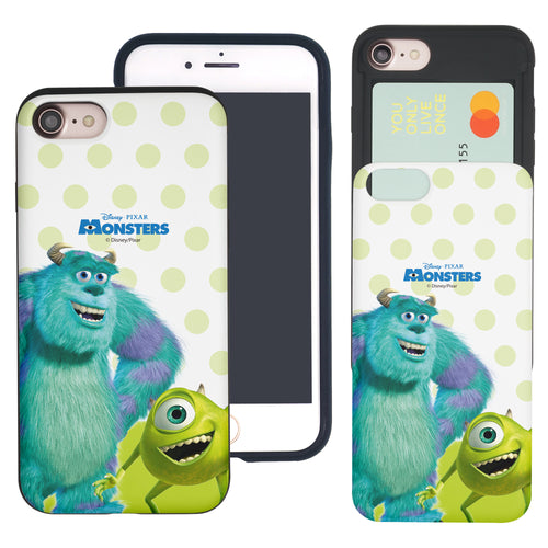 iPhone 8 Plus / iPhone 7 Plus Case Monsters University inc Slim Slider Card Slot Dual Layer Holder Bumper Cover - Movie Mike Sulley