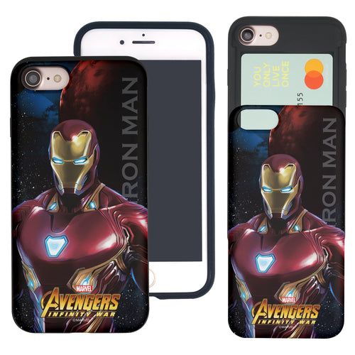 iPhone 8 Plus / iPhone 7 Plus Case Marvel Avengers Slim Slider Card Slot Dual Layer Holder Bumper Cover - Infinity War Iron Man