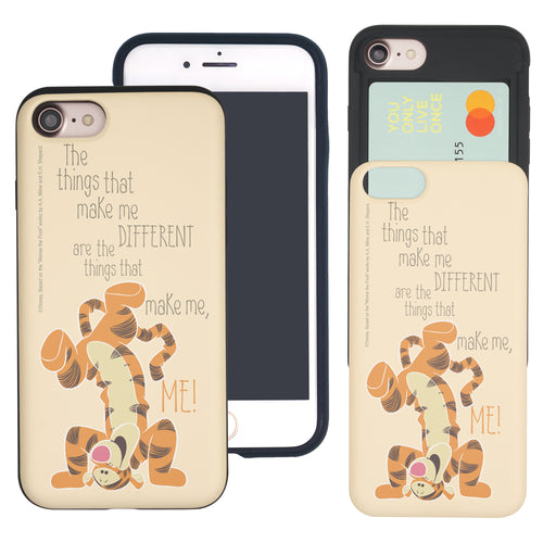 iPhone SE 2020 / iPhone 8 / iPhone 7 Case (4.7inch) Disney Pooh Slim Slider Card Slot Dual Layer Holder Bumper Cover - Words Tigger