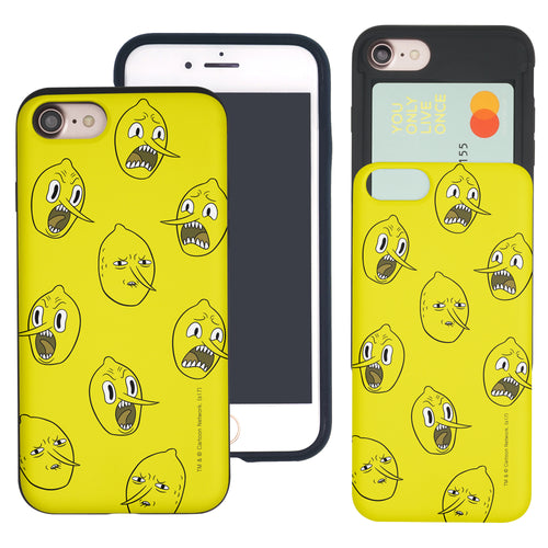 iPhone 8 Plus / iPhone 7 Plus Case Adventure Time Slim Slider Card Slot Dual Layer Holder Bumper Cover - Pattern Lemongrab