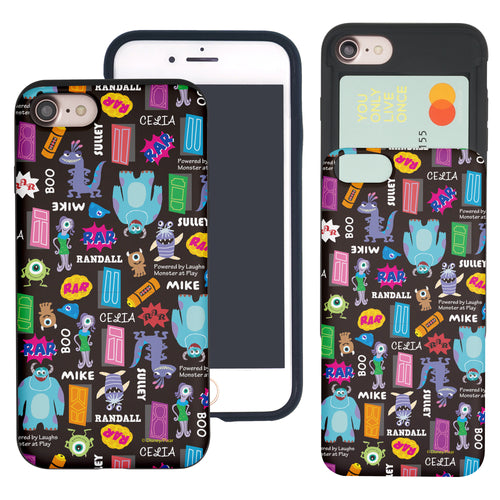 iPhone 8 Plus / iPhone 7 Plus Case Monsters University inc Slim Slider Card Slot Dual Layer Holder Bumper Cover - Pattern Name Black