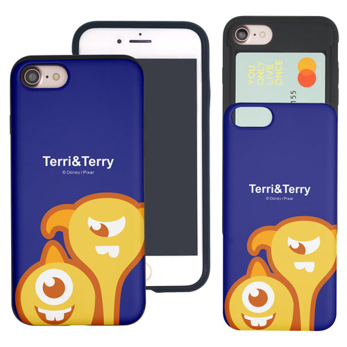iPhone 8 Plus / iPhone 7 Plus Case Monsters University inc Slim Slider Card Slot Dual Layer Holder Bumper Cover - Big Terri and Terry