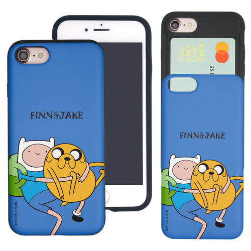 iPhone 8 Plus / iPhone 7 Plus Case Adventure Time Slim Slider Card Slot Dual Layer Holder Bumper Cover - Lovely Finn and Jake