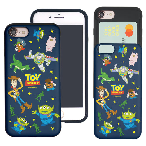 iPhone 8 Plus / iPhone 7 Plus Case Toy Story Slim Slider Card Slot Dual Layer Holder Bumper Cover - Pattern Toy Story