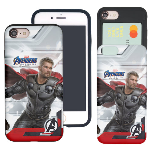 iPhone 8 Plus / iPhone 7 Plus Case Marvel Avengers Slim Slider Card Slot Dual Layer Holder Bumper Cover - End Game Thor