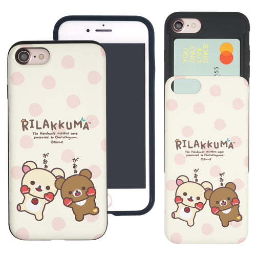 iPhone SE 2020 / iPhone 8 / iPhone 7 Case (4.7inch) Rilakkuma Slim Slider Card Slot Dual Layer Holder Bumper Cover - Chairoikoguma Jump