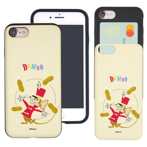 iPhone SE 2020 / iPhone 8 / iPhone 7 Case (4.7inch) Disney Dumbo Slim Slider Card Slot Dual Layer Holder Bumper Cover - Dumbo Timothy