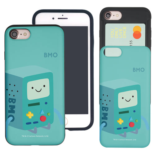 iPhone 8 Plus / iPhone 7 Plus Case Adventure Time Slim Slider Card Slot Dual Layer Holder Bumper Cover - Cuty BMO