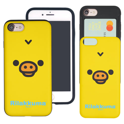 iPhone SE 2020 / iPhone 8 / iPhone 7 Case (4.7inch) Rilakkuma Slim Slider Card Slot Dual Layer Holder Bumper Cover - Face Kiiroitori