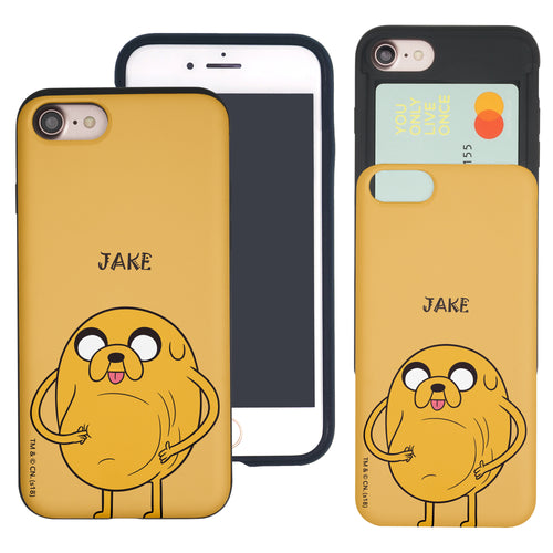 iPhone 8 Plus / iPhone 7 Plus Case Adventure Time Slim Slider Card Slot Dual Layer Holder Bumper Cover - Lovely Jake