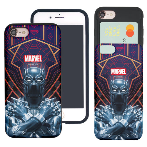 iPhone 8 Plus / iPhone 7 Plus Case Marvel Avengers Slim Slider Card Slot Dual Layer Holder Bumper Cover - Black Panther Face Lines