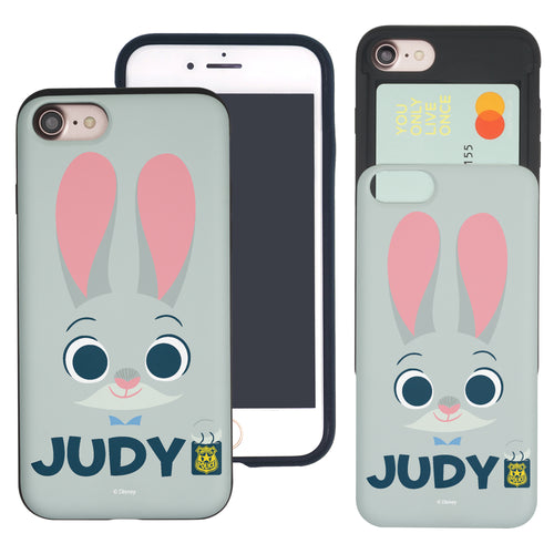 iPhone 6S Plus / iPhone 6 Plus Case Disney Zootopia Dual Layer Card Slide Slot Wallet Bumper Cover - Face Judy