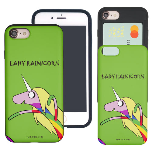 iPhone 8 Plus / iPhone 7 Plus Case Adventure Time Slim Slider Card Slot Dual Layer Holder Bumper Cover - Lovely Lady Rainicorn