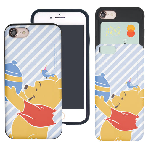 iPhone SE 2020 / iPhone 8 / iPhone 7 Case (4.7inch) Disney Pooh Slim Slider Card Slot Dual Layer Holder Bumper Cover - Stripe Pooh Bird