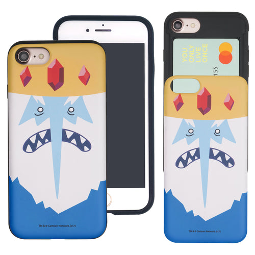iPhone 8 Plus / iPhone 7 Plus Case Adventure Time Slim Slider Card Slot Dual Layer Holder Bumper Cover - Ice King
