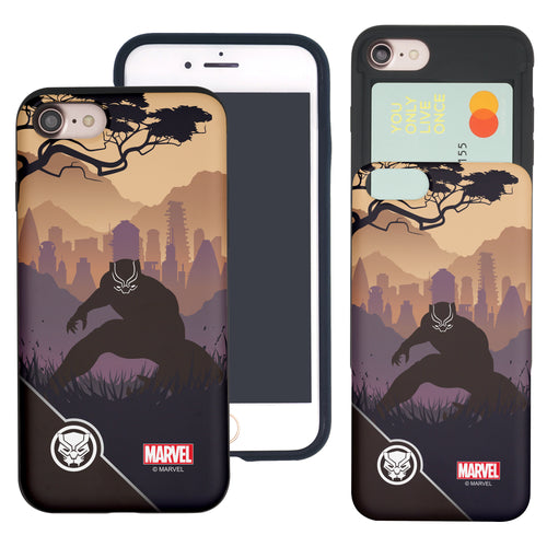 iPhone 8 Plus / iPhone 7 Plus Case Marvel Avengers Slim Slider Card Slot Dual Layer Holder Bumper Cover - Shadow Black Panther