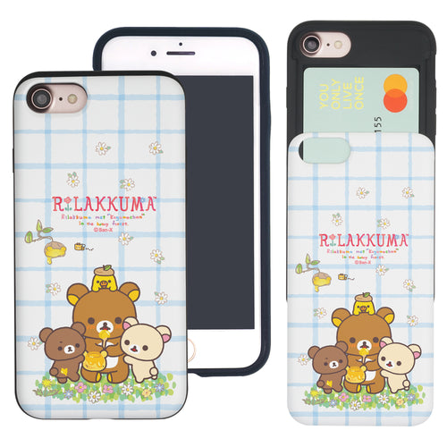 iPhone SE 2020 / iPhone 8 / iPhone 7 Case (4.7inch) Rilakkuma Slim Slider Card Slot Dual Layer Holder Bumper Cover - Rilakkuma Honey