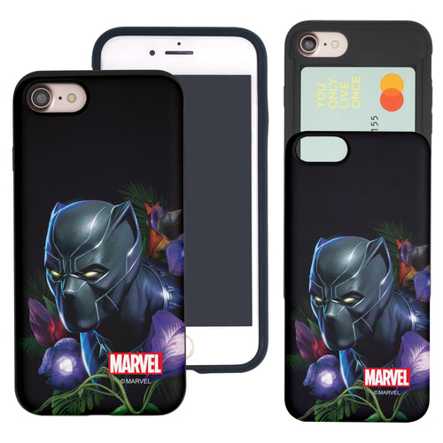 iPhone 8 Plus / iPhone 7 Plus Case Marvel Avengers Slim Slider Card Slot Dual Layer Holder Bumper Cover - Black Panther Face Black