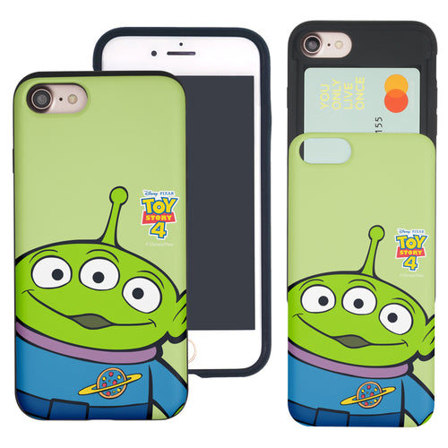 iPhone 8 Plus / iPhone 7 Plus Case Toy Story Slim Slider Card Slot Dual Layer Holder Bumper Cover - Wide Alien