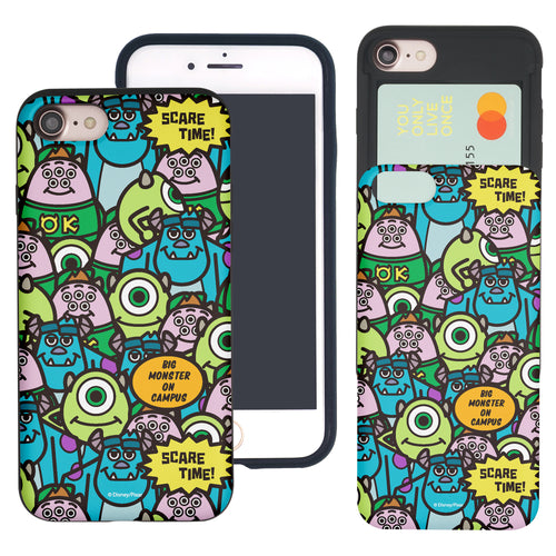 iPhone 8 Plus / iPhone 7 Plus Case Monsters University inc Slim Slider Card Slot Dual Layer Holder Bumper Cover - Pattern Face