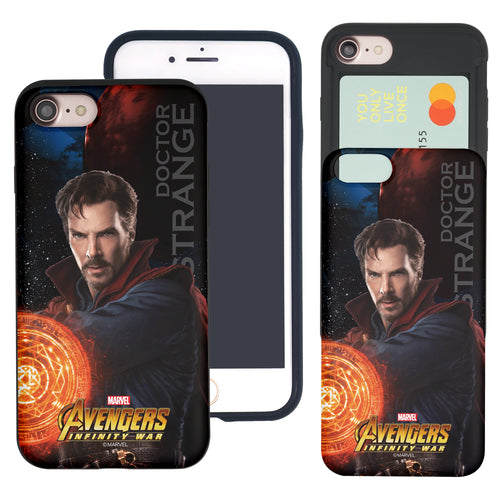 iPhone 8 Plus / iPhone 7 Plus Case Marvel Avengers Slim Slider Card Slot Dual Layer Holder Bumper Cover - Infinity War Doctor Strange