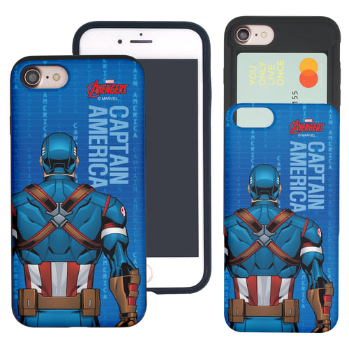 iPhone 8 Plus / iPhone 7 Plus Case Marvel Avengers Slim Slider Card Slot Dual Layer Holder Bumper Cover - Back Captain America