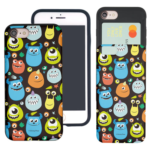 iPhone 8 Plus / iPhone 7 Plus Case Monsters University inc Slim Slider Card Slot Dual Layer Holder Bumper Cover - Icon Monsters