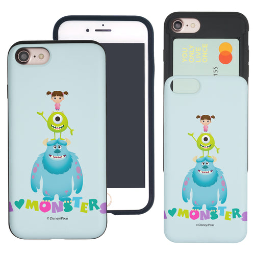 iPhone 8 Plus / iPhone 7 Plus Case Monsters University inc Slim Slider Card Slot Dual Layer Holder Bumper Cover - Simple Together