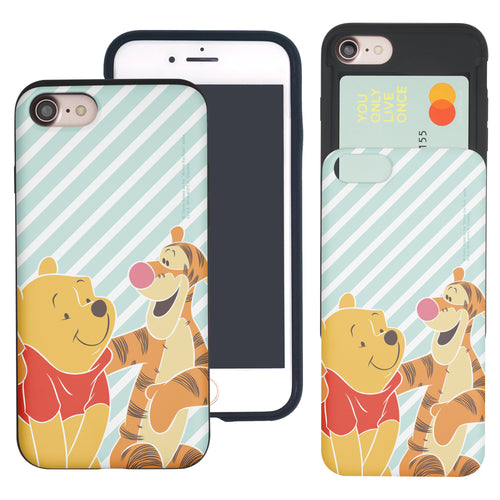 iPhone SE 2020 / iPhone 8 / iPhone 7 Case (4.7inch) Disney Pooh Slim Slider Card Slot Dual Layer Holder Bumper Cover - Stripe Pooh Tigger