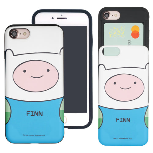 iPhone 8 Plus / iPhone 7 Plus Case Adventure Time Slim Slider Card Slot Dual Layer Holder Bumper Cover - Finn Mertens