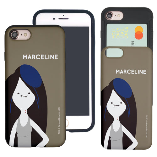 iPhone 8 Plus / iPhone 7 Plus Case Adventure Time Slim Slider Card Slot Dual Layer Holder Bumper Cover - Cuty Marceline