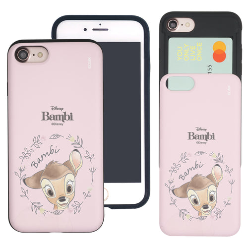 iPhone SE 2020 / iPhone 8 / iPhone 7 Case (4.7inch) Disney Bambi Slim Slider Card Slot Dual Layer Holder Bumper Cover - Face Bambi