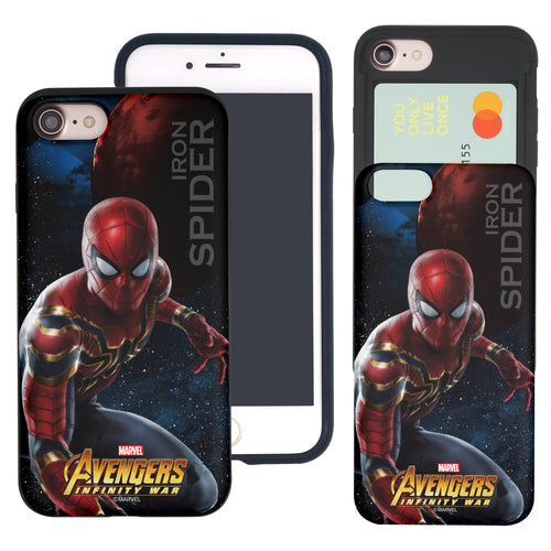 iPhone 8 Plus / iPhone 7 Plus Case Marvel Avengers Slim Slider Card Slot Dual Layer Holder Bumper Cover - Infinity War Spider Man