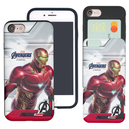 iPhone 8 Plus / iPhone 7 Plus Case Marvel Avengers Slim Slider Card Slot Dual Layer Holder Bumper Cover - End Game Iron Man