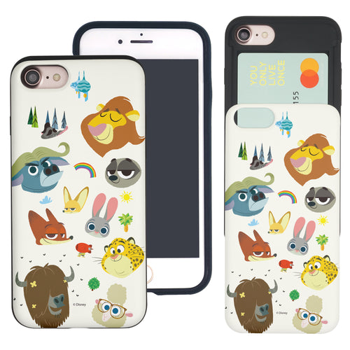 iPhone 6S Plus / iPhone 6 Plus Case Disney Zootopia Dual Layer Card Slide Slot Wallet Bumper Cover - Zootopia Small