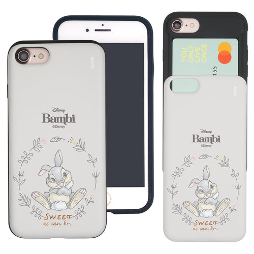 iPhone SE 2020 / iPhone 8 / iPhone 7 Case (4.7inch) Disney Bambi Slim Slider Card Slot Dual Layer Holder Bumper Cover - Full Thumper