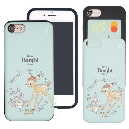 iPhone SE 2020 / iPhone 8 / iPhone 7 Case (4.7inch) Disney Bambi Slim Slider Card Slot Dual Layer Holder Bumper Cover - Full Bambi Thumper