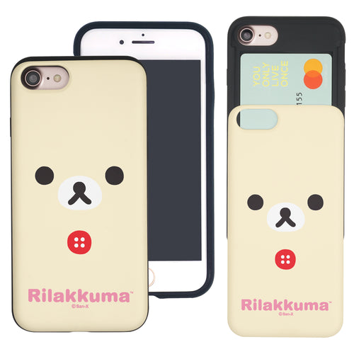 iPhone SE 2020 / iPhone 8 / iPhone 7 Case (4.7inch) Rilakkuma Slim Slider Card Slot Dual Layer Holder Bumper Cover - Face Korilakkuma