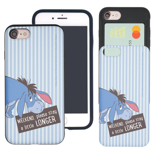 iPhone SE 2020 / iPhone 8 / iPhone 7 Case (4.7inch) Disney Pooh Slim Slider Card Slot Dual Layer Holder Bumper Cover - Words Eeyore Stripe