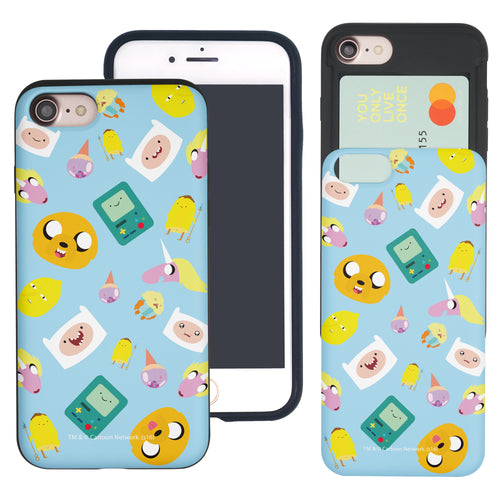 iPhone 8 Plus / iPhone 7 Plus Case Adventure Time Slim Slider Card Slot Dual Layer Holder Bumper Cover - Cuty Pattern Blue