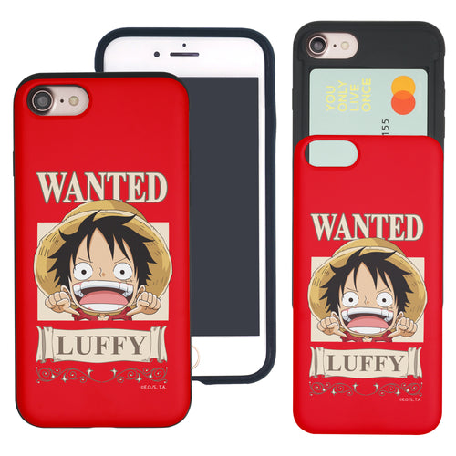 iPhone 6S Plus / iPhone 6 Plus Case ONE PIECE Slim Slider Card Slot Dual Layer Holder Bumper Cover - Mini Luffy