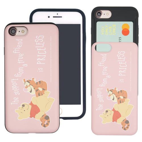 iPhone SE 2020 / iPhone 8 / iPhone 7 Case (4.7inch) Disney Pooh Slim Slider Card Slot Dual Layer Holder Bumper Cover - Words Pooh Tigger