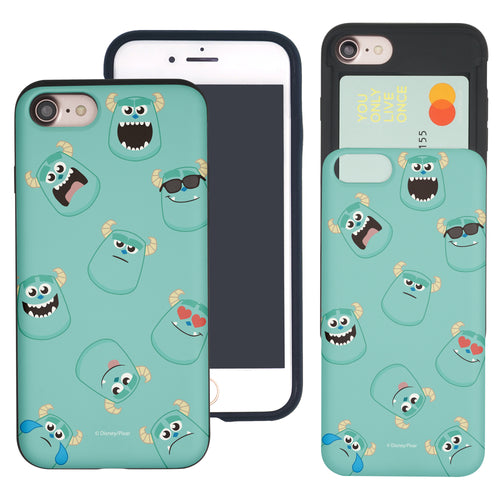 iPhone 8 Plus / iPhone 7 Plus Case Monsters University inc Slim Slider Card Slot Dual Layer Holder Bumper Cover - Pattern Sulley